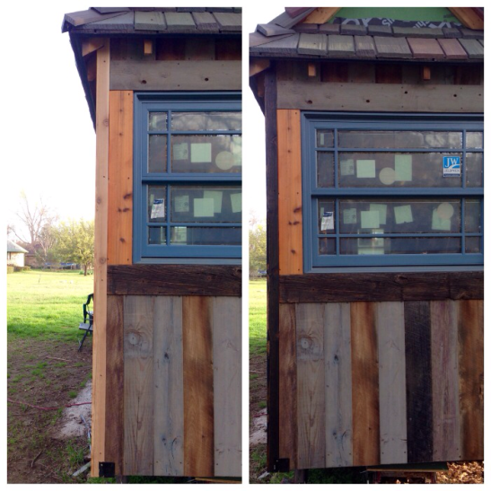 """Next, a front end shot comparing the raw and stained versions. It instantly makes the house look more """"finished."""""""