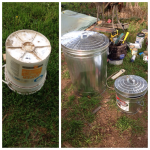 The old stain rag bucket (L) and the upgraded trash and stain rag metal cans (R).