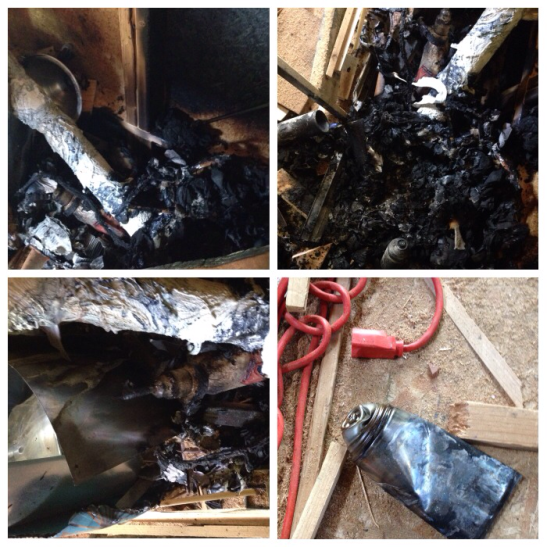 Images of the items that had been in and immediately surrounding the trash bag where the fire started.